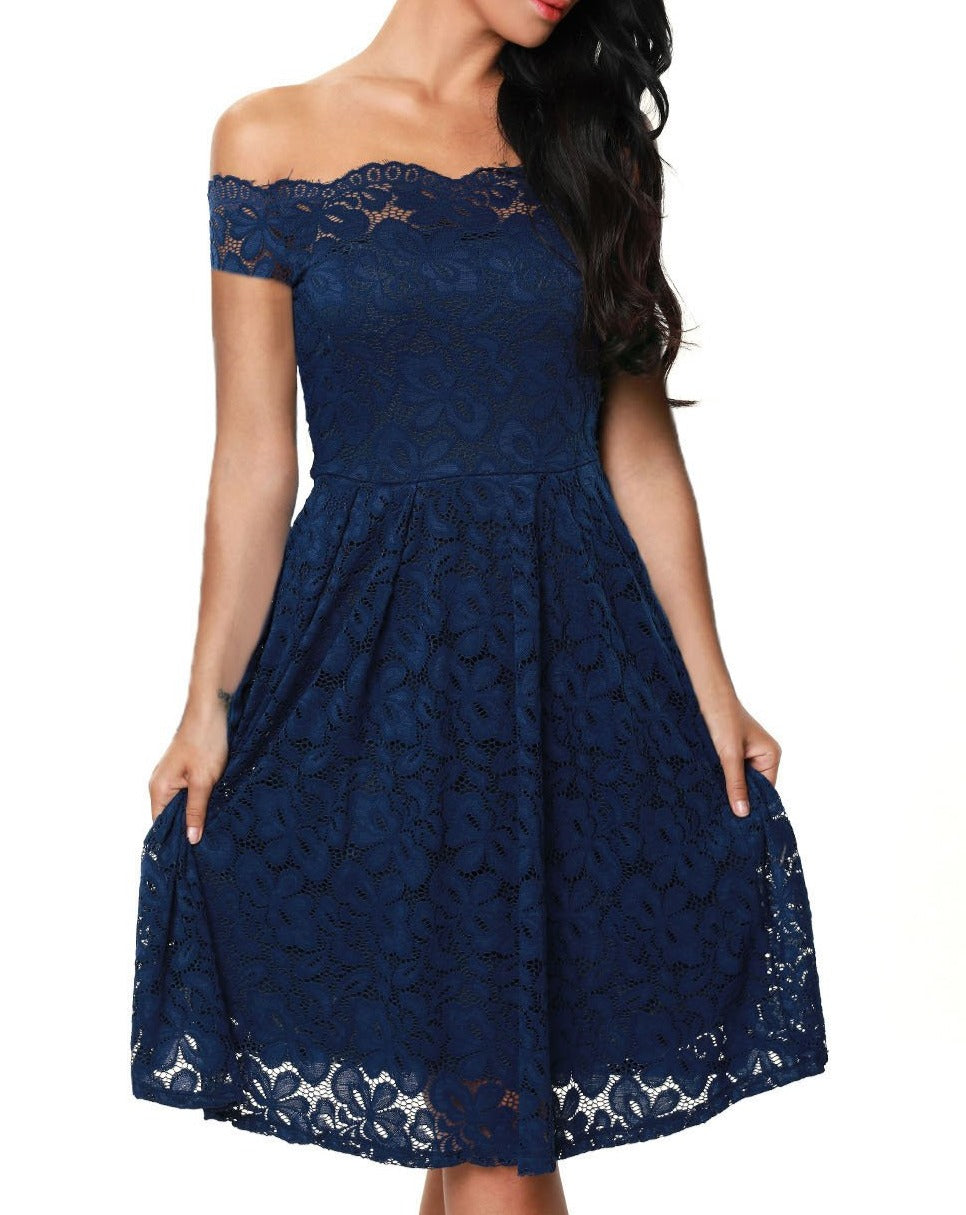 Blue Scalloped Off Shoulder Flared Lace Dress