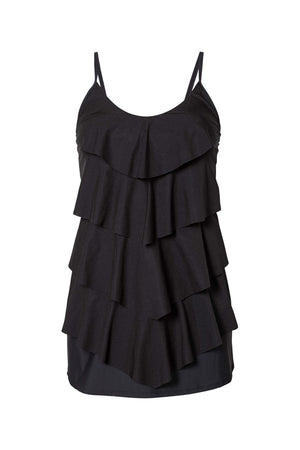 Black Multiple Layer Ruffles Swim Dress