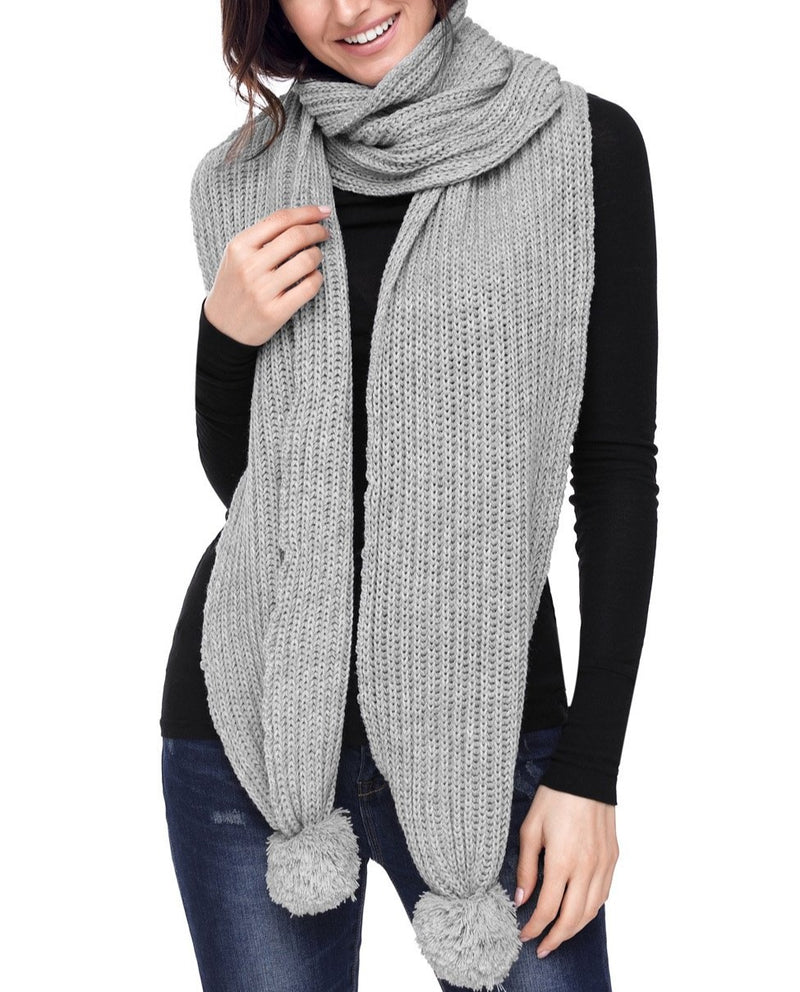 Gray Pom Pom Ribbed Knit Scarf
