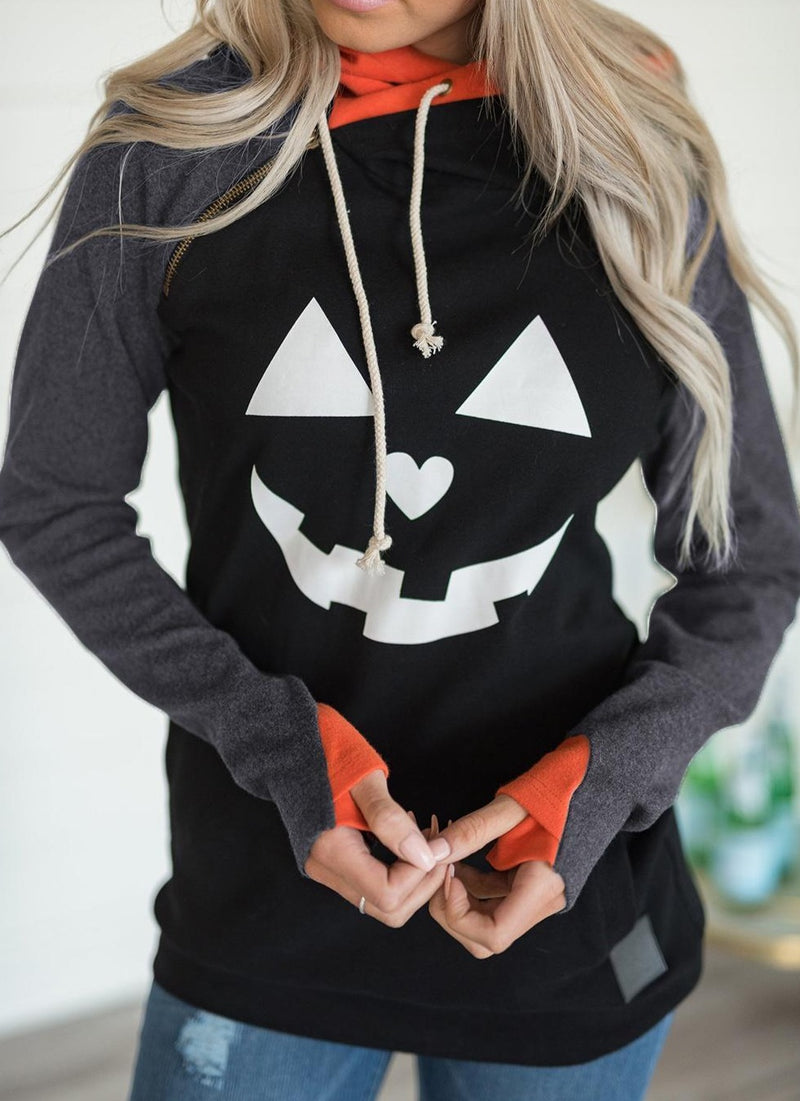 Double Hood Halloween Pumpkin Face Sweatshirt