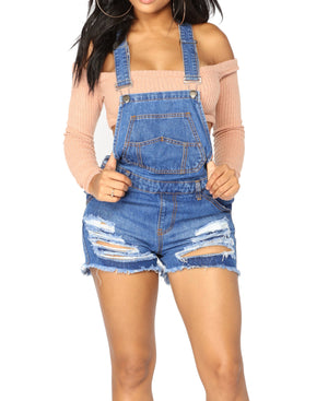 Raw Hem Ripped Denim Short Overall
