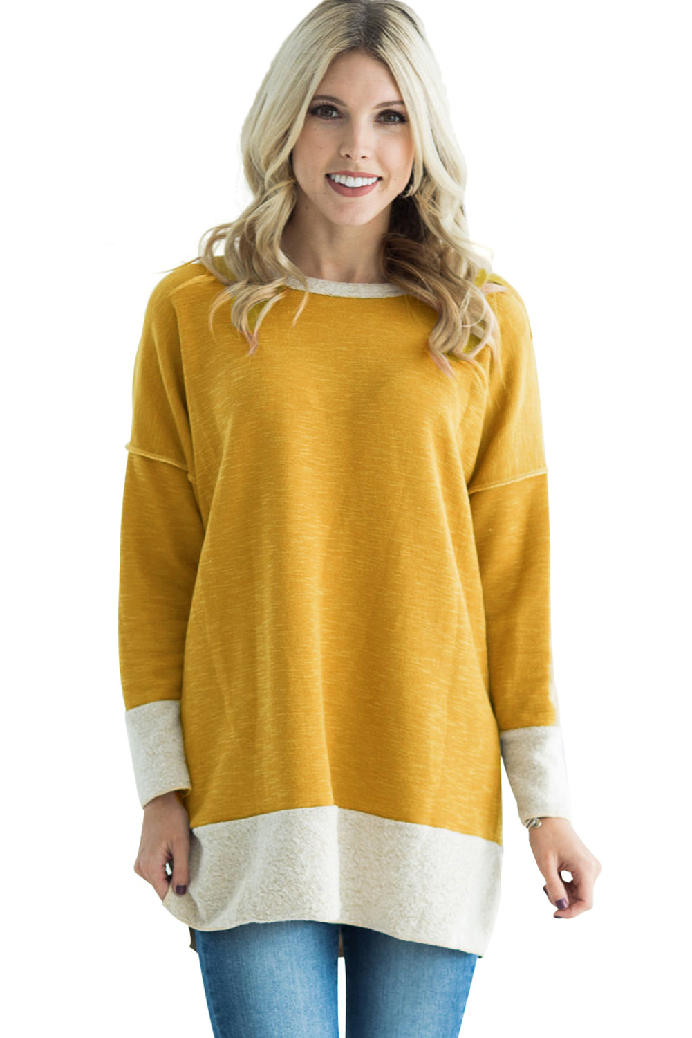Yellow Two Tone French Terry Sweatshirt
