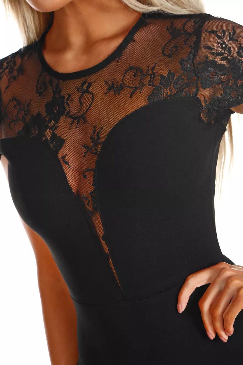 Black Lace Short Sleeve Bodysuit
