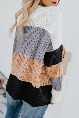Apricot Casual Colorblock Sweater
