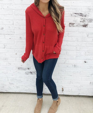 Red Open Front Pocket Button Down Knit Cardigan Coat