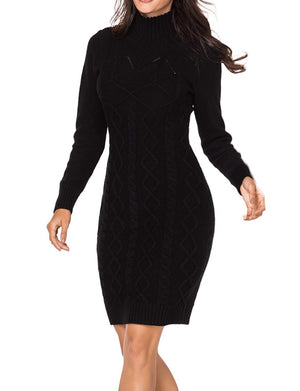 Black Cable Knit High Neck Sweater Dress