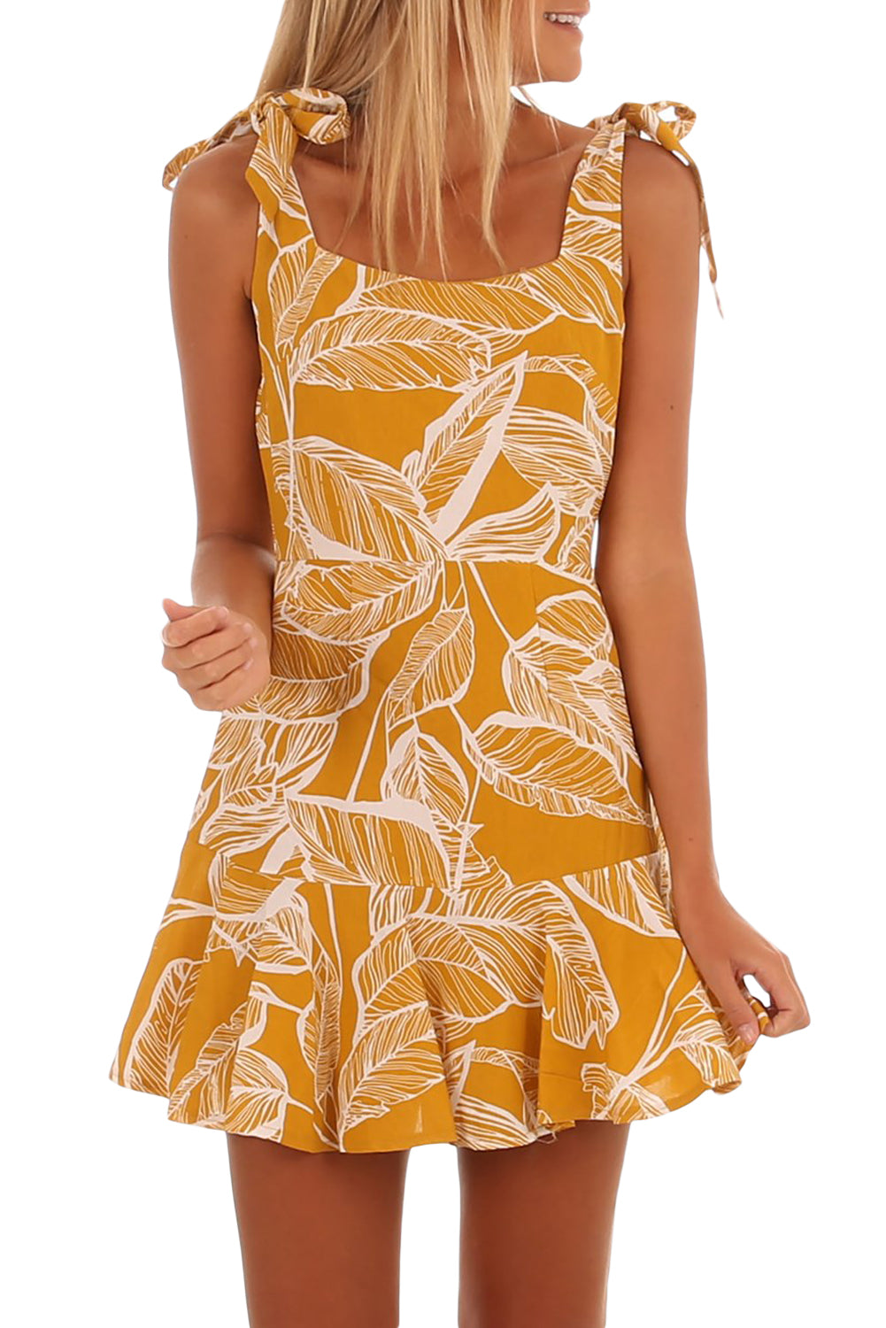 White Leaf Vein Print Mustard Tie Shoulder Dress