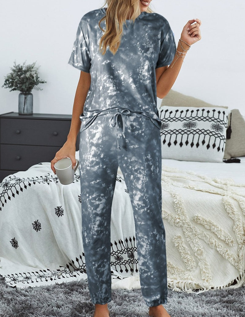 Gray Tie-dye T-shirt Pants PJ Set