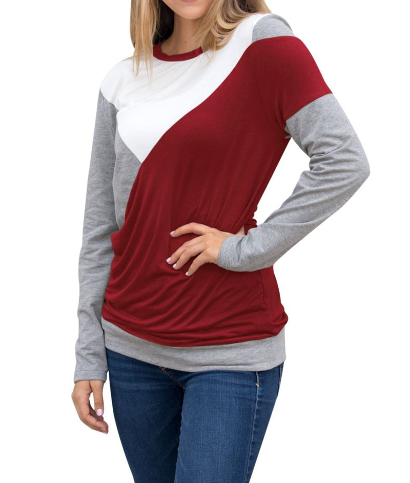 Burgundy Shoulder Slope Trio Color Block Shirt