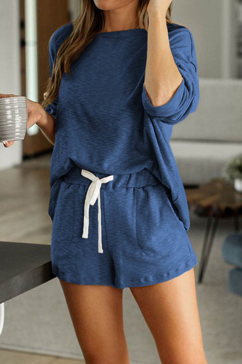 Blue Pocketed Knit Loungewear Set
