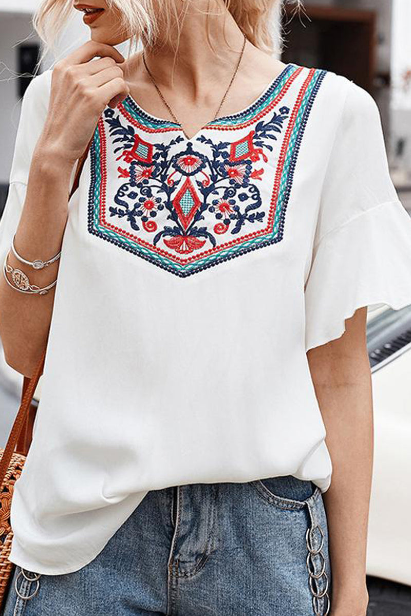 Retro Embroidered Print White Ruffle Short Sleeve Top