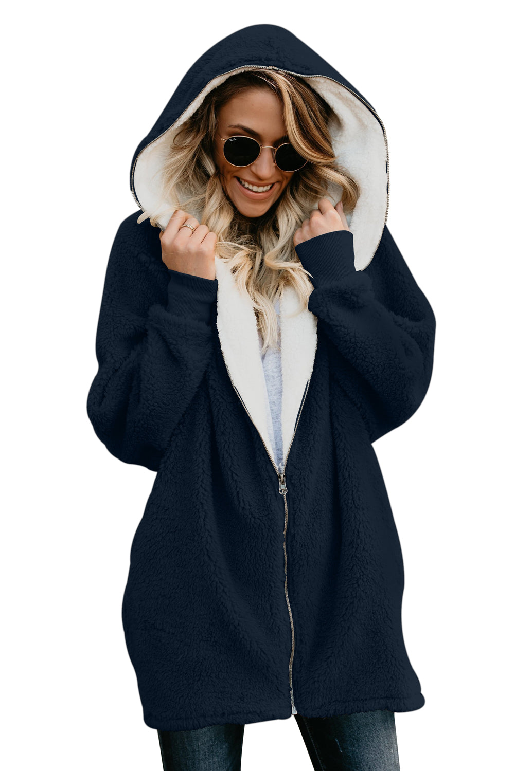 Navy Zip Down Hooded Fluffy Coat