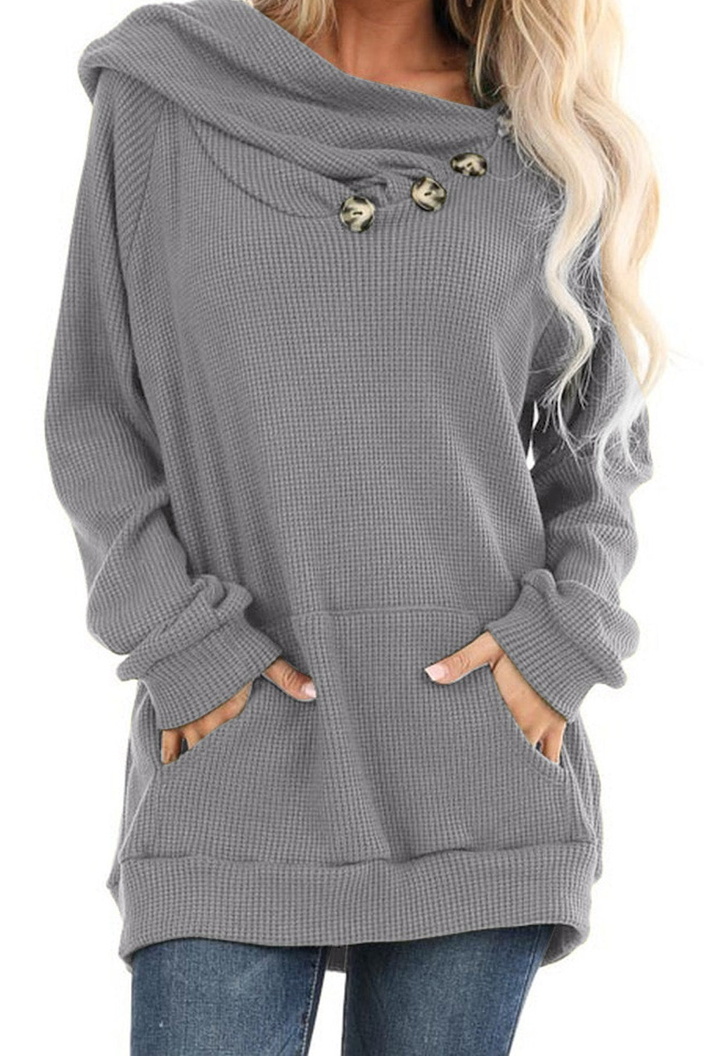 Gray Waffle Knit Hooded Top with Asymmetrical Button Detail
