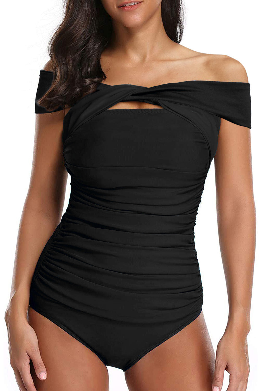 Black Criss Cross Off Shoulder Ruched One-piece Swimwear
