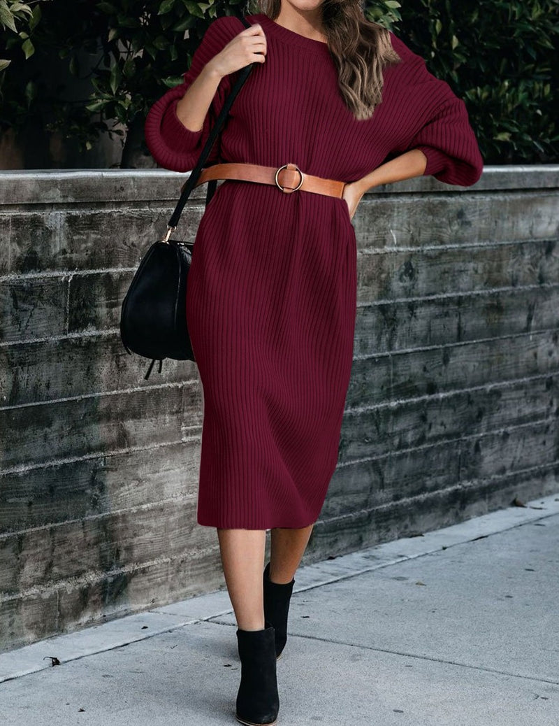 Red Ribbed Midi Sweater Dress