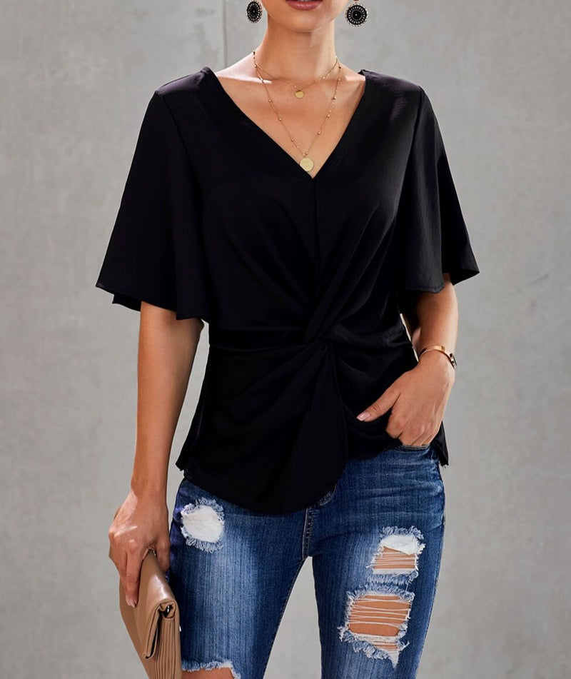 Black V-Neck Bell Sleeve Twist Pleated Blouse
