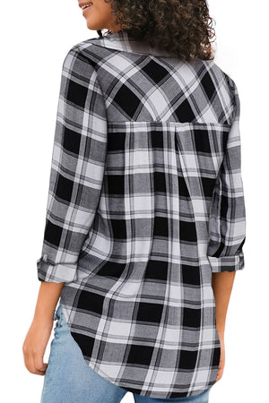 Black V Neck Roll up Sleeve Button Down Plaid Pattern Shirt