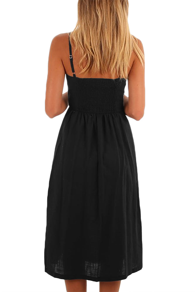 Black Button Down Fit-and-flare Daily Dress