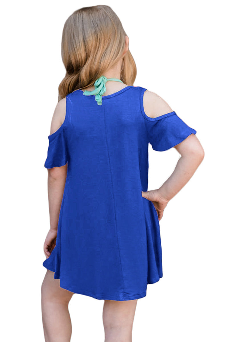 Cobalt Blue Ruffle Cold Shoulder Dress for Little Girls