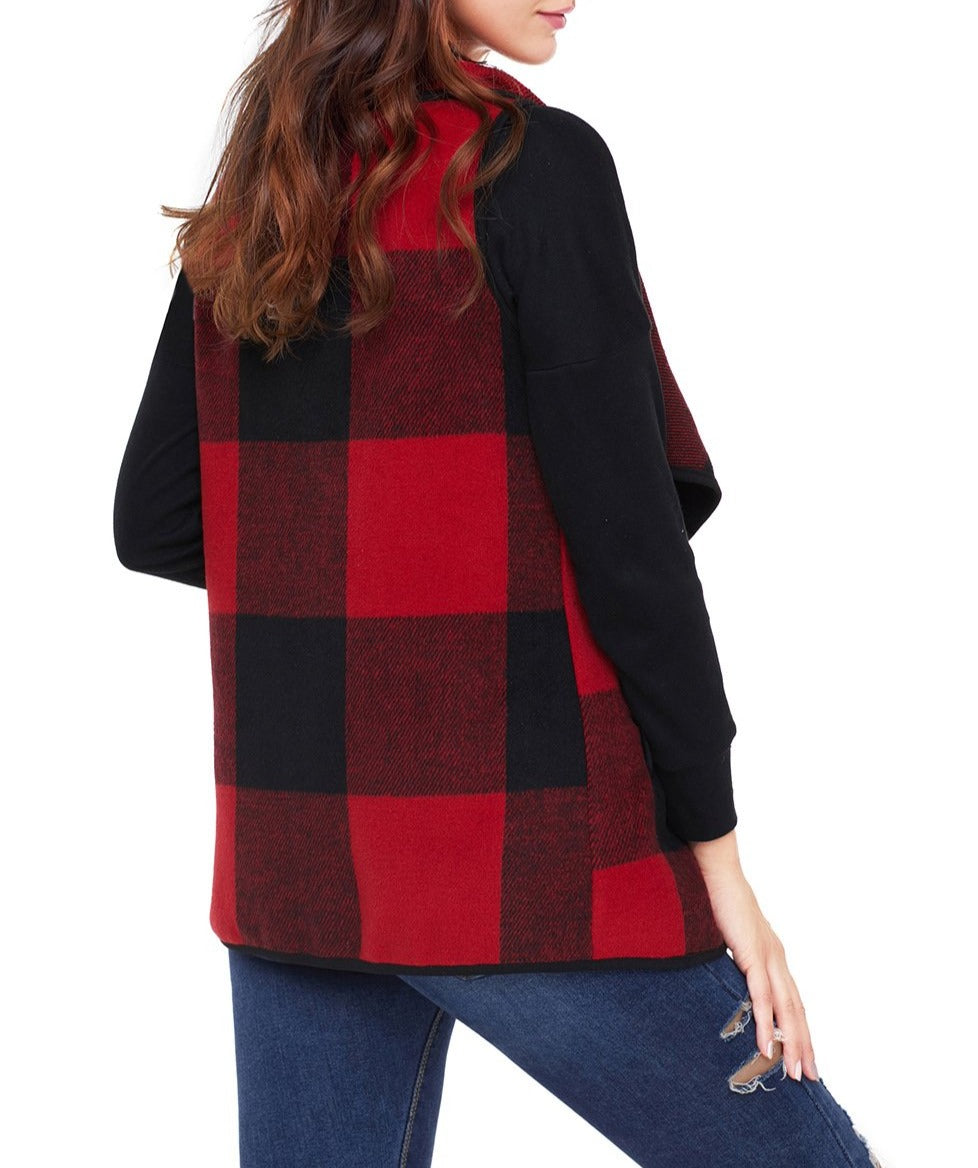 Red Black Plaid Open Front Vest