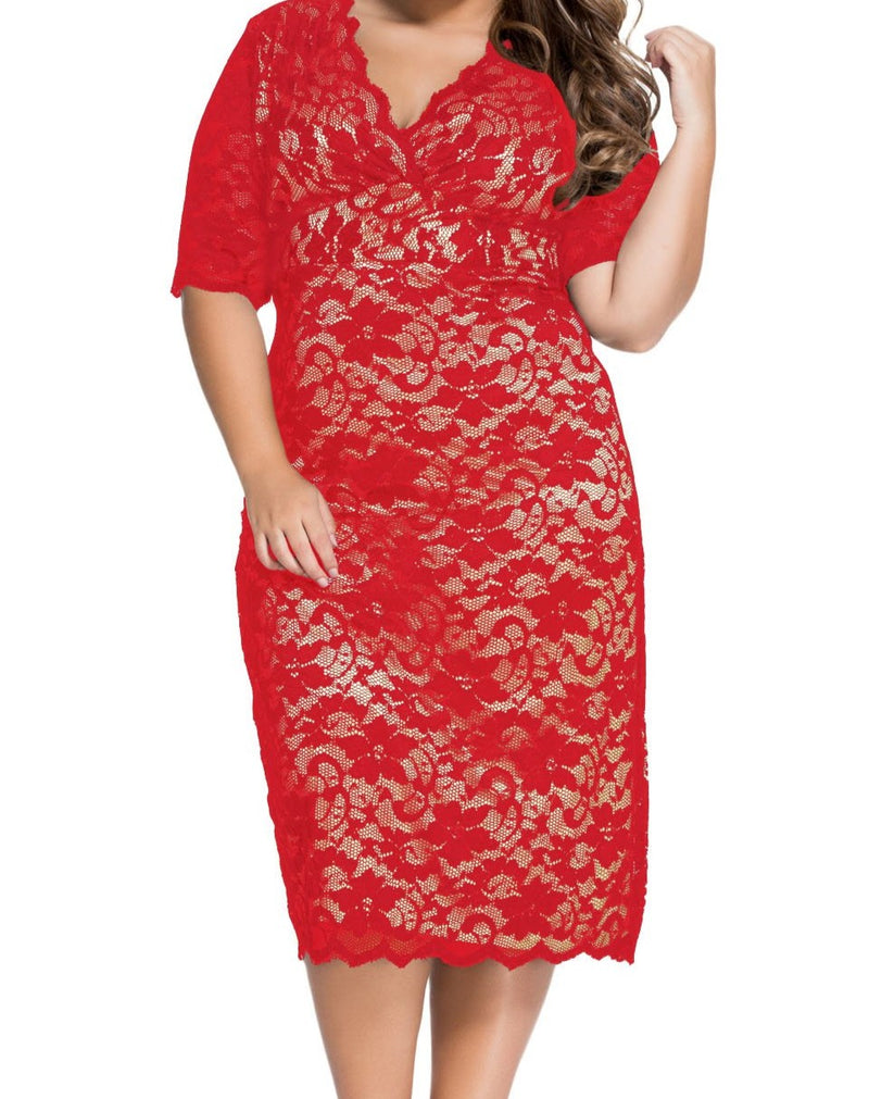 Red Plus Size V-Neck Half Sleeve Lace Midi Dress