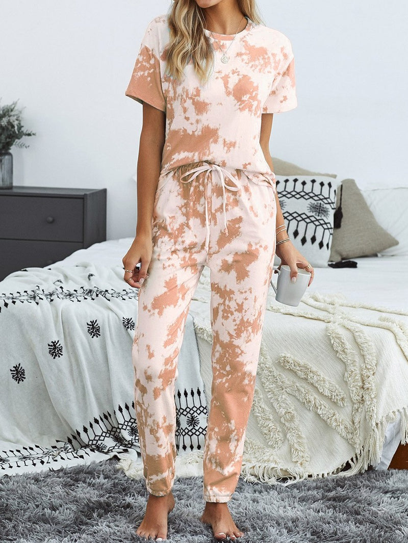 Orange Tie-dye T-shirt Pants PJ Set