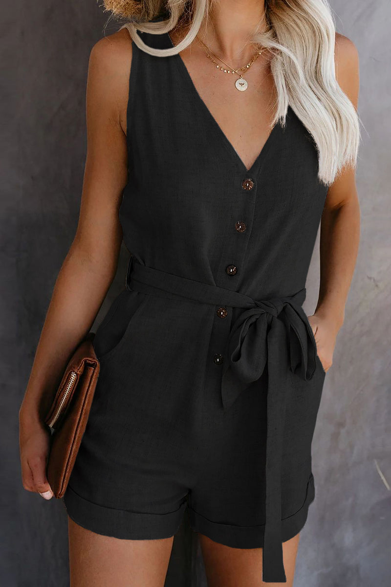 Black Button V Neck Romper with Belt