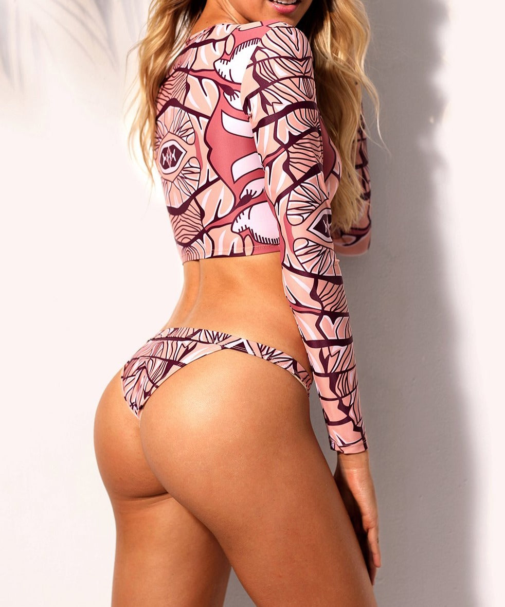 African Print Long Sleeve Tankini 2pcs Swimsuit
