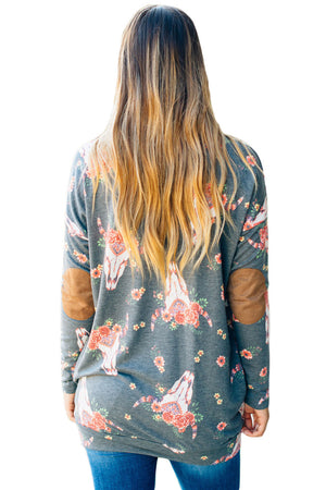 Floral Print Elbow Patch Grey Long Sleeve Top