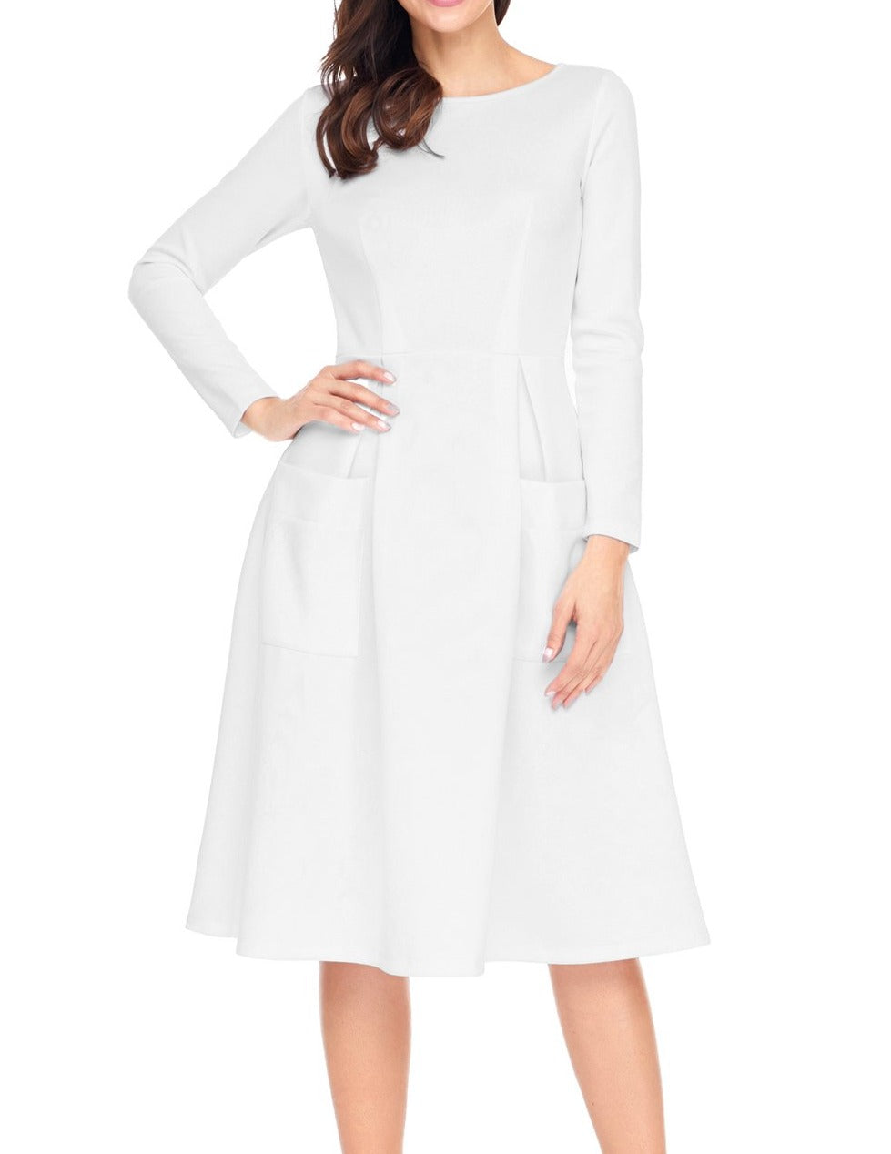 White Bateau Collar Casual Big Pocket Skater Dress