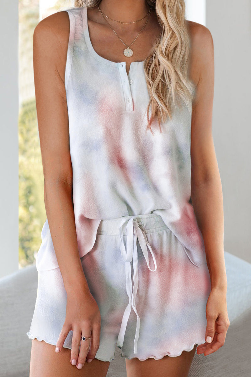 Multicolor Tie Dye Sleeveless Shorts Lounge Set