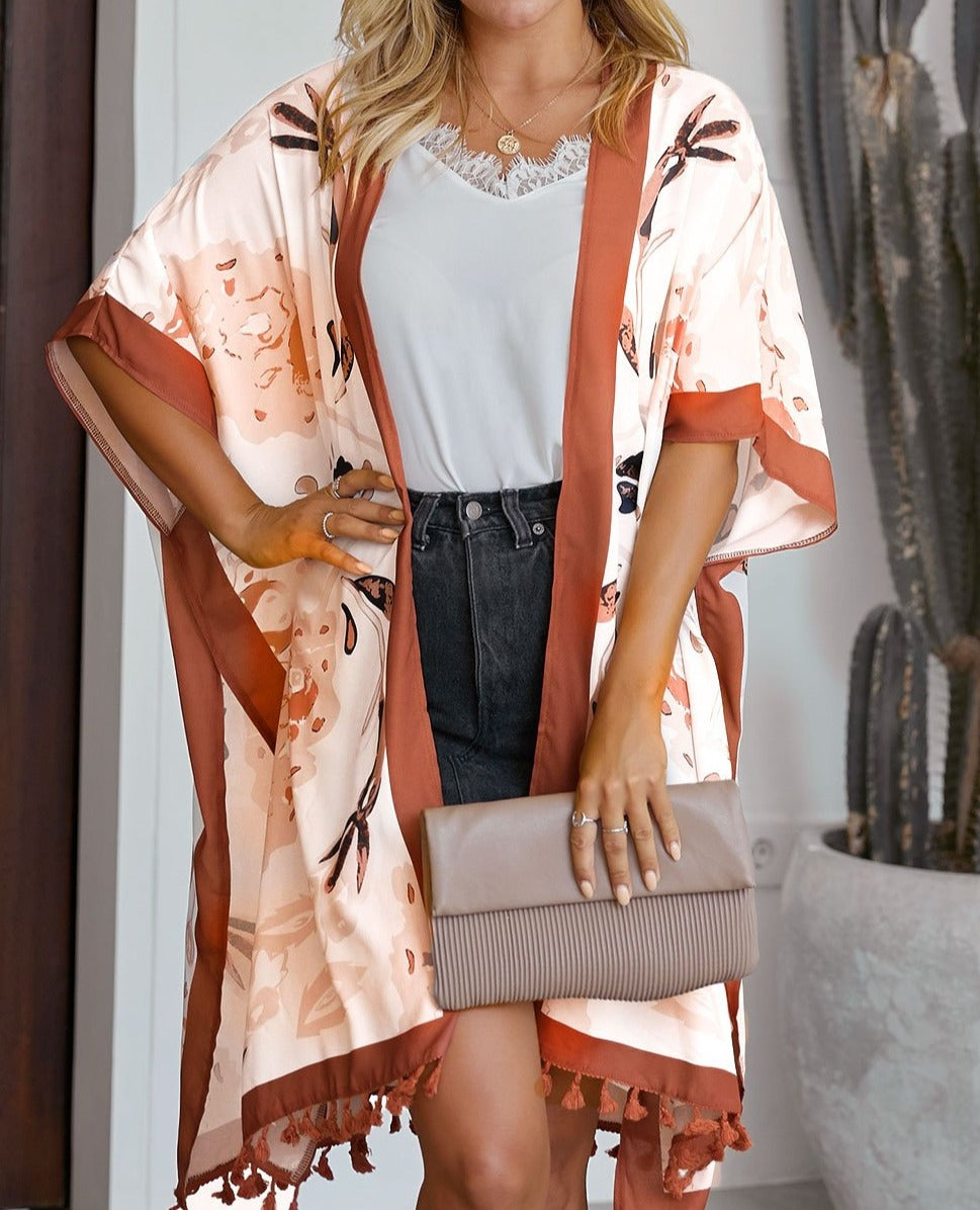 Orange Bohemian Print Open Front Loose Kimono Beach Cover up