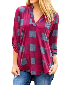 Burgundy Gray Plaid Long Sleeve Preppy Blouse