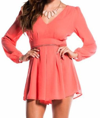 Watermelon Red Long Sleeve Mini Romper with Braided Belt