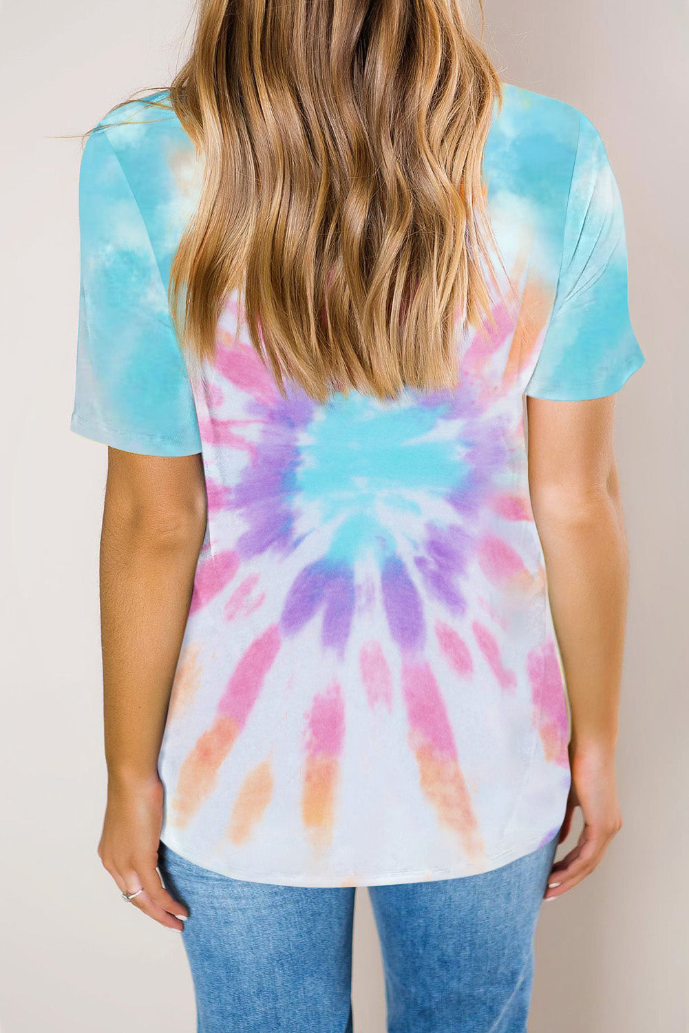 Multicolor Gradient Tie Dye V Neck T-shirt