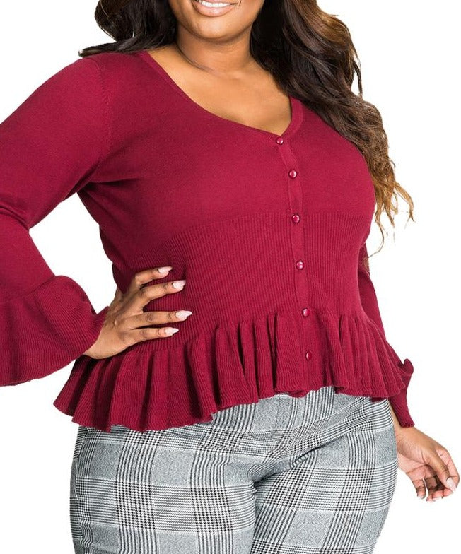 Wine Ruffle Hem V Neck Plus Size Cardigan
