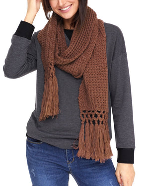 Brown Cozy Chunky Knit Tassel Scarf