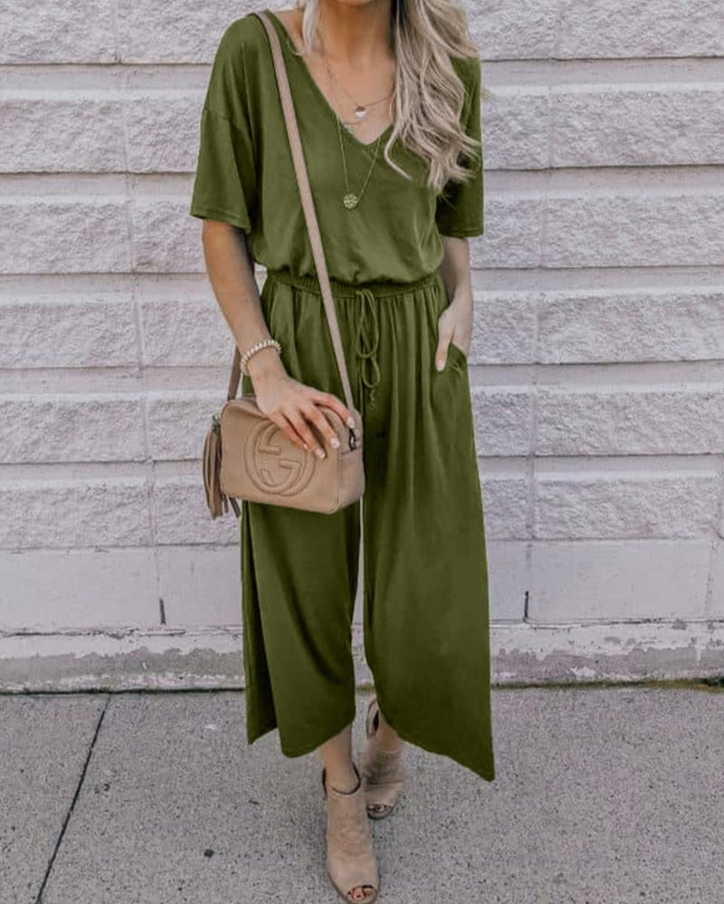 Green V Neck Pocket String-tied Jumpsuit