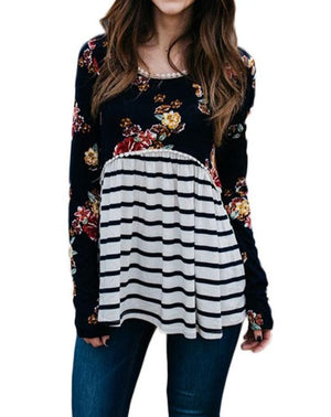 Black Floral Striped Babydoll Tunic