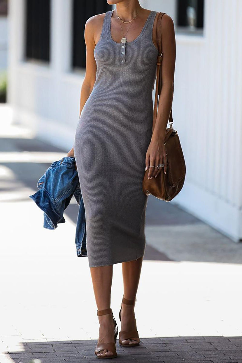Gray Summer Ribbed Knit Midi Dress