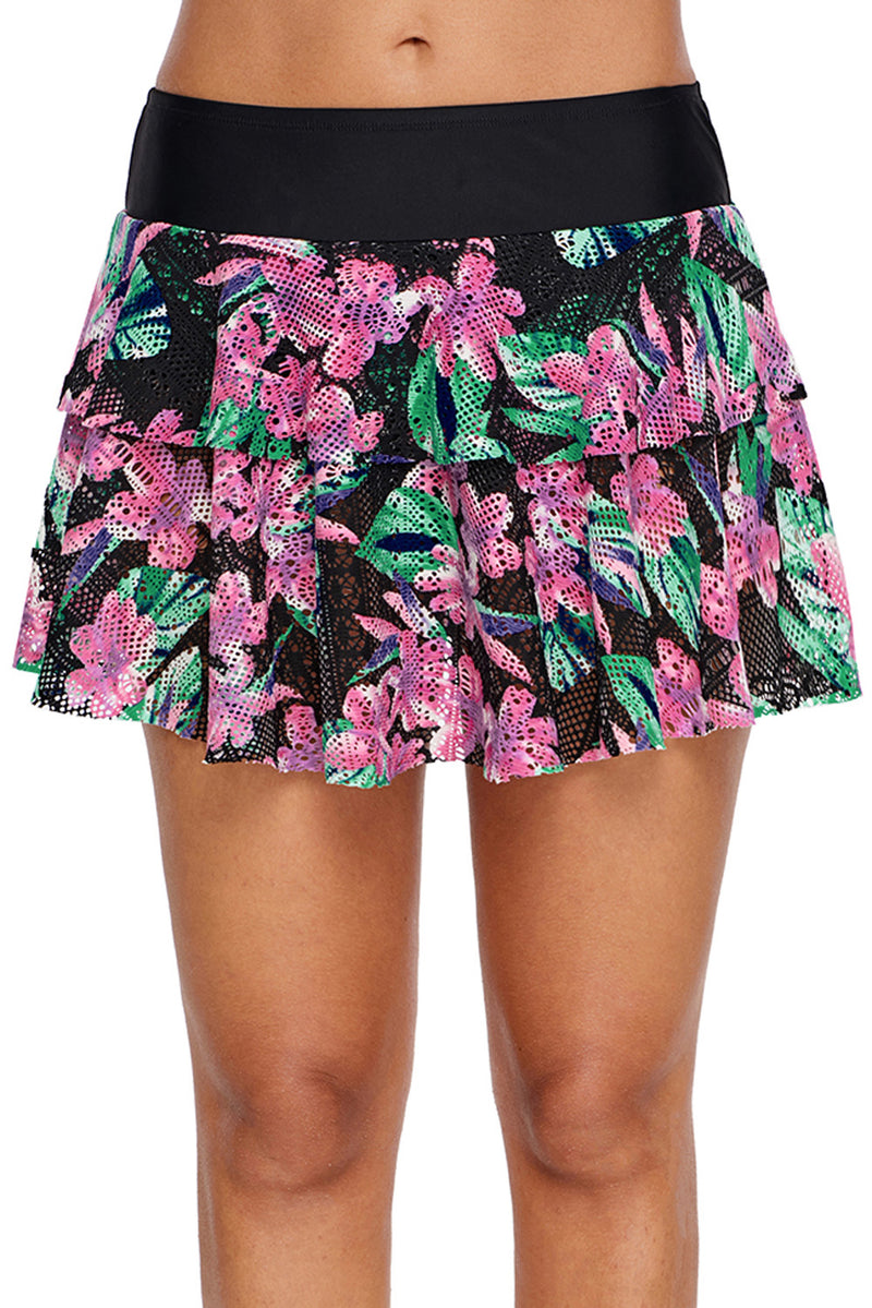 Floral Print Lacy Skirt Attached Swim Bottom