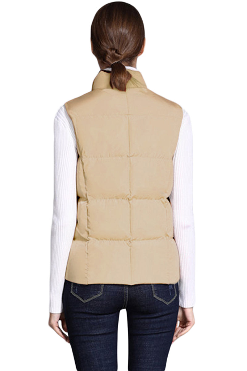 Khaki Sleeveless Female Cotton Jacket