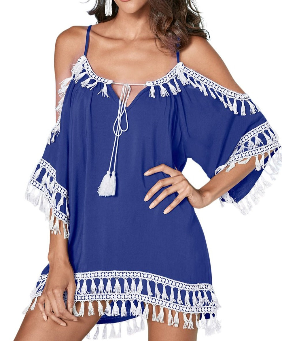Blue Boho Tassel Tunic Cover up