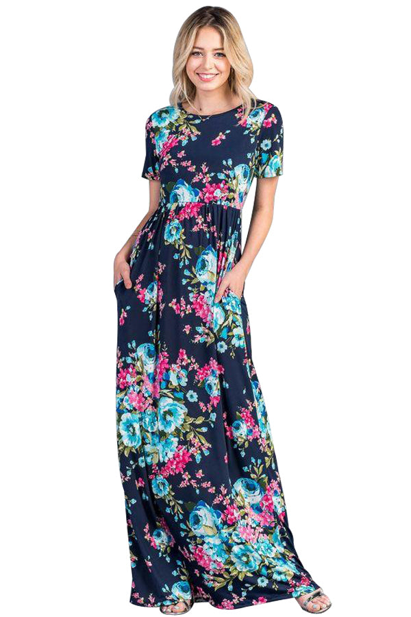 Rosy Aqua Floral Pattern Short Sleeve Summer Maxi Dress in Navy