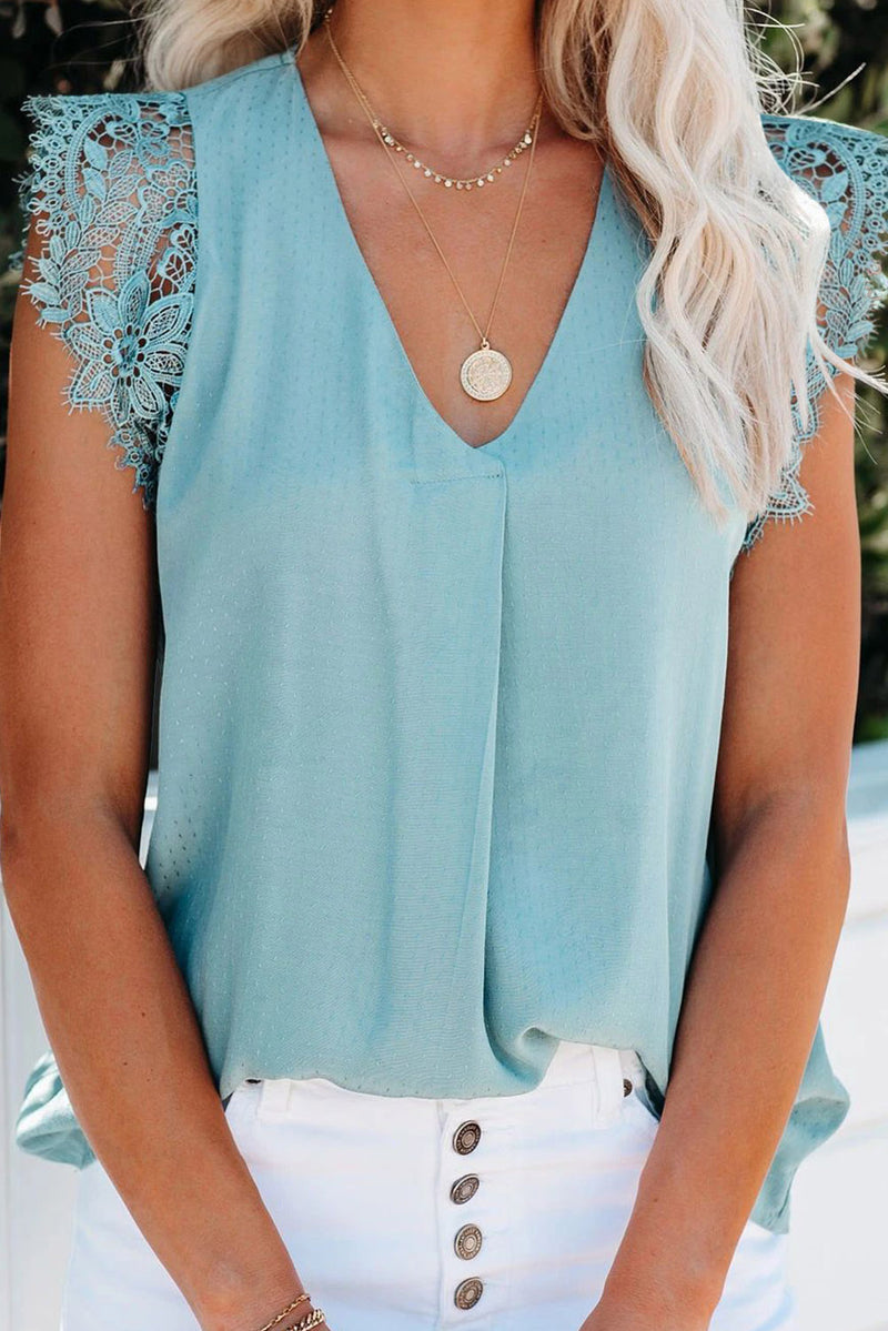Sky Blue Sleeveless Crochet Lace Blouse