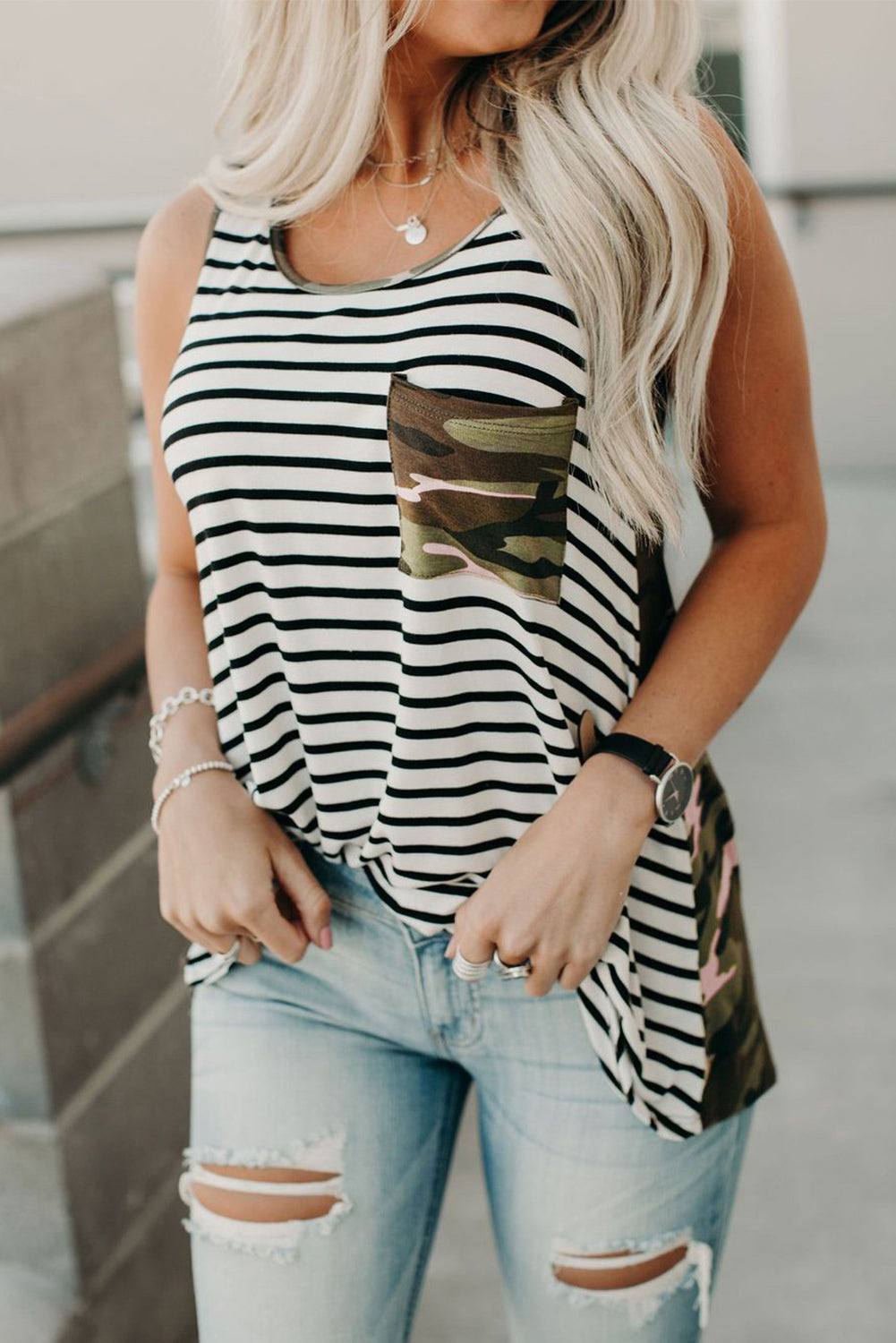 Camo & Stripe Tank Top