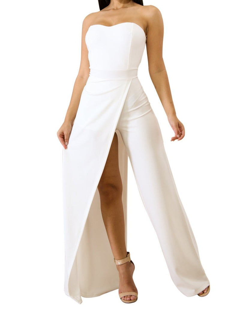 White Asymmetric Split Leg Strapless Jumpsuit