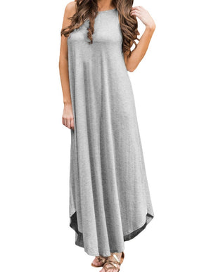 Light Gray Sexy Chic Sleeveless Asymmetric Trim Maxi Dress