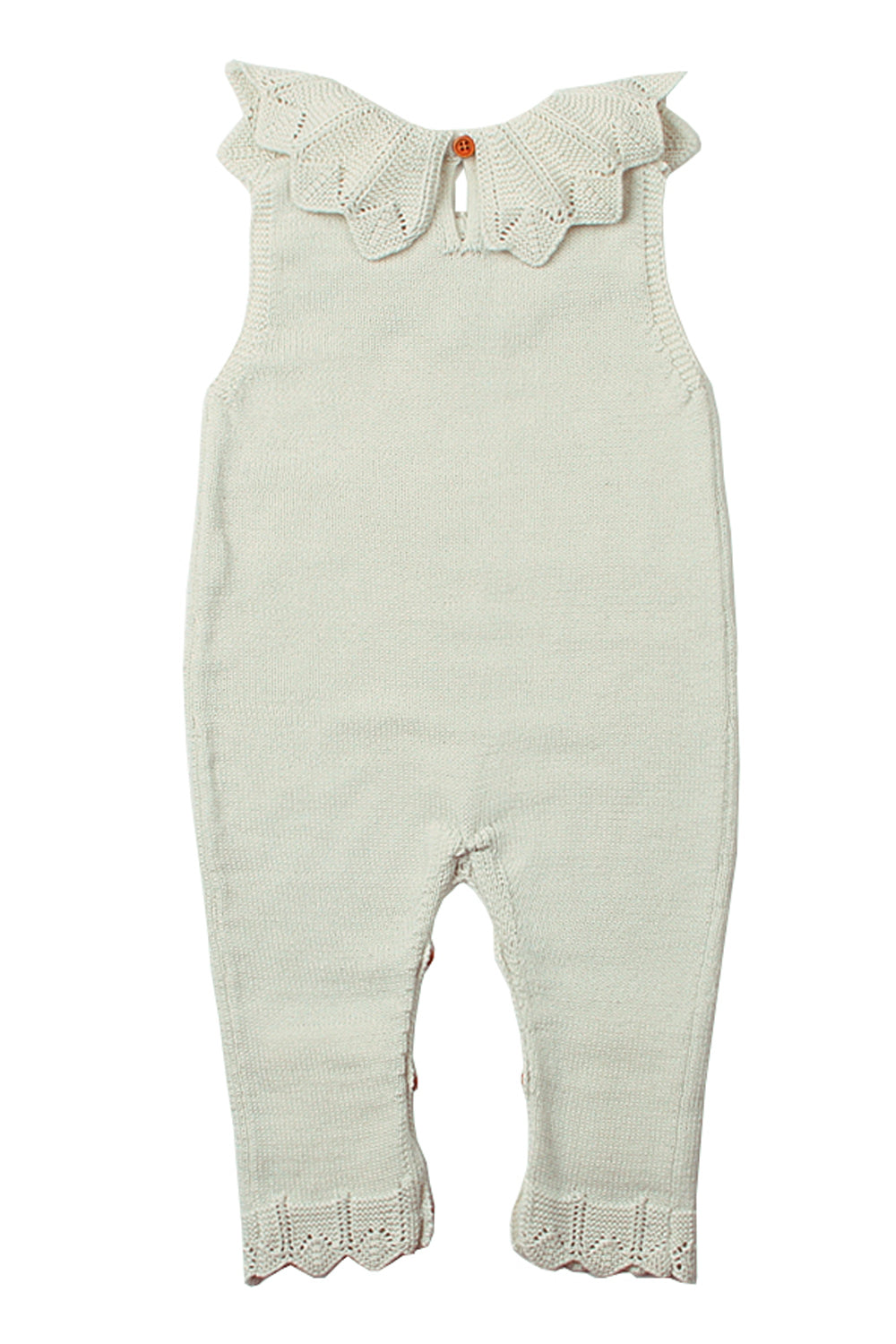 White Flounce Neck Detail Unisex Baby Jumpsuit