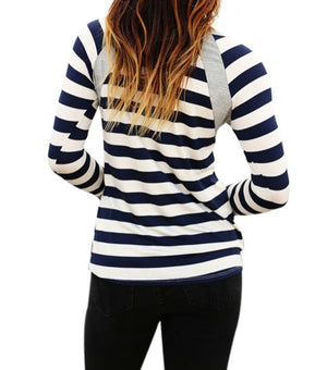 Grey Splice Accent Navy White Striped Long Sleeve Shirt
